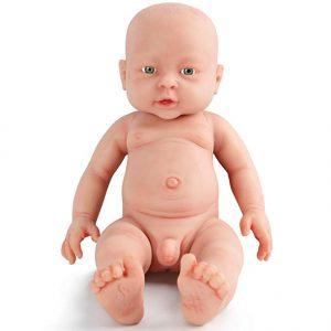 Ce bébé reborn garçon est réalisé entièrement en silicone doux.