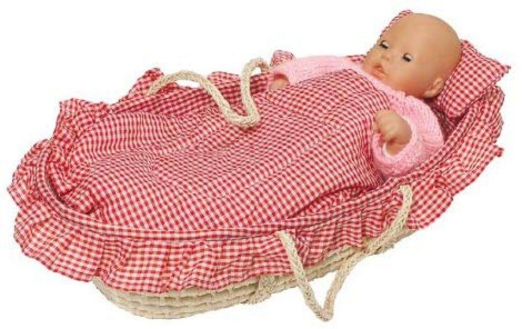Ce couffin pour poupon peut accueillir une poupée qui mesure au maximum 52 cm.