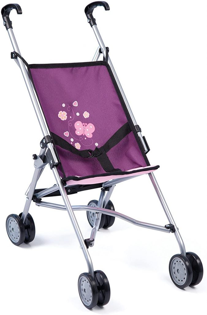 La poussette canne poupée Bayer design Papillon est de couleur violette.