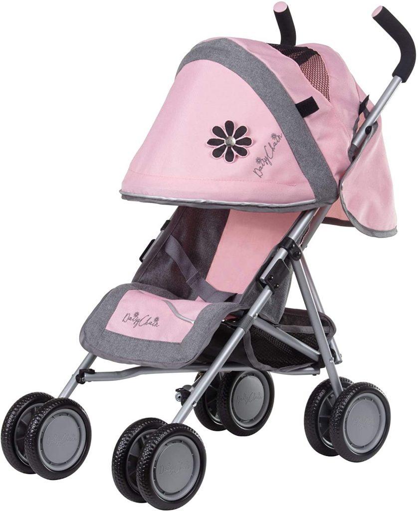 La poussette pour poupée Daisy Chain est de couleur grise et rose.