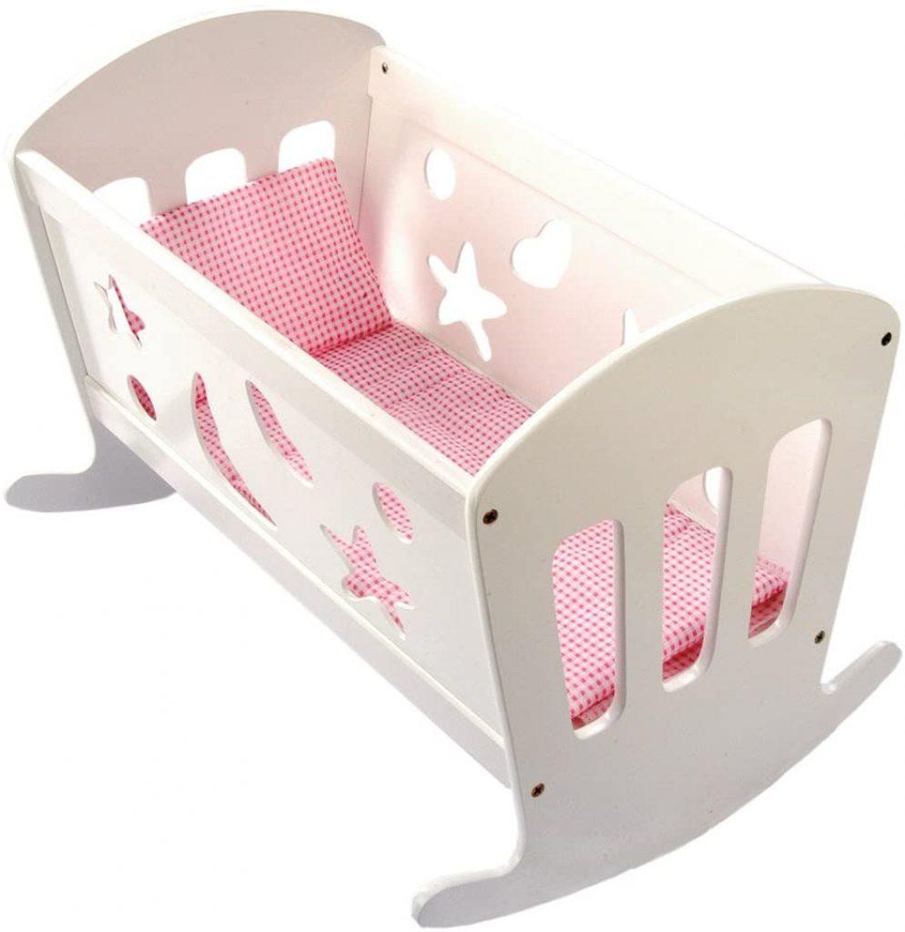 Le lit poupon en bois Bino permet à votre enfant de bercer son bébé.