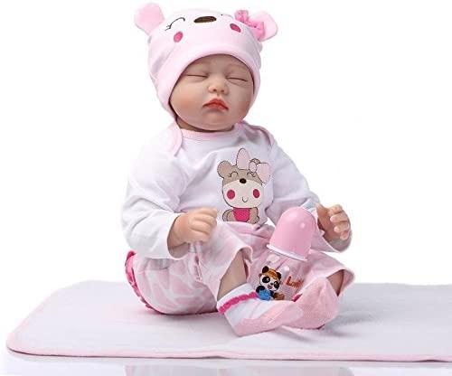 Cette poupée reborn fille a des yeux clos fixes.
