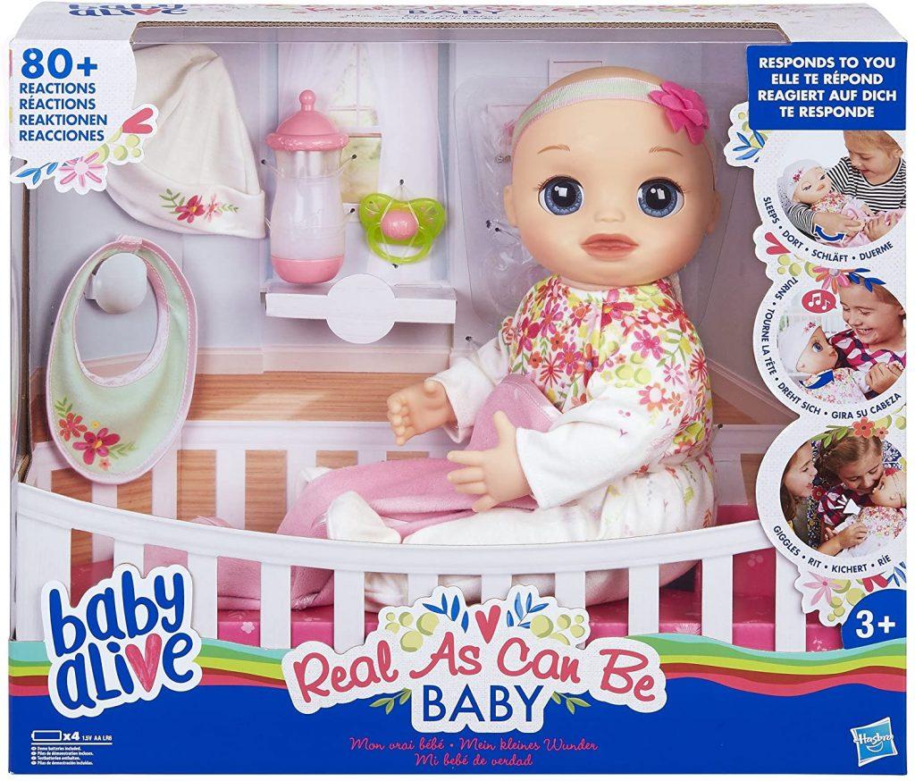 Baby alive mon vrai bébé émet des sons de bébé réalistes.