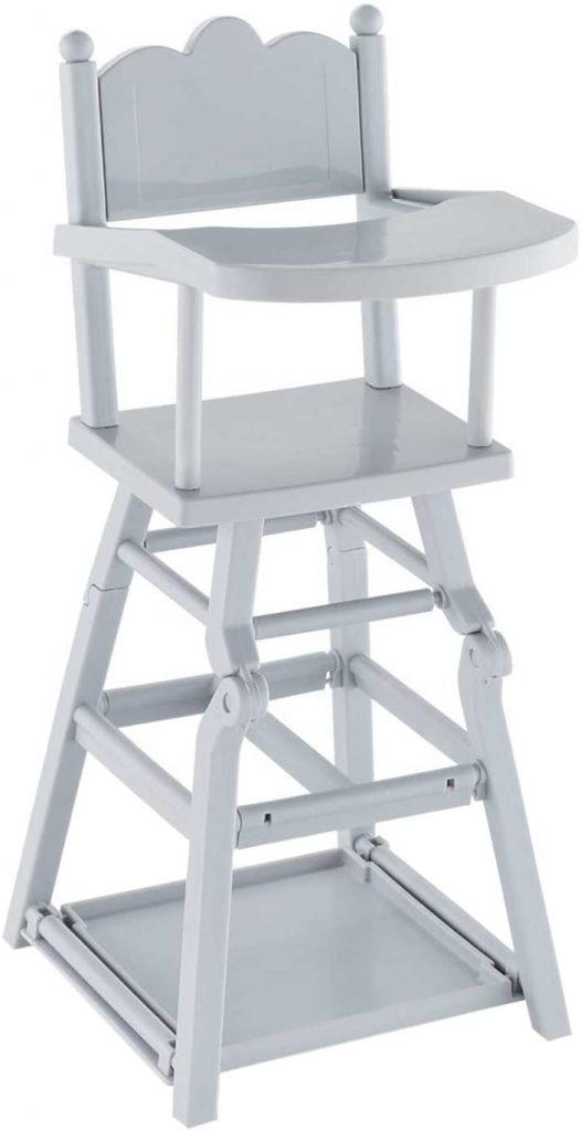 La chaise haute Corolle convient au poupon mesurant jusqu'à 42 cm.