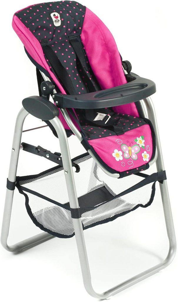 La chaise haute pour poupée Bayer Design a un siège inclinable.