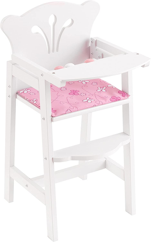 Cette chaise haute poupée en bois Kidkraft est blanche.