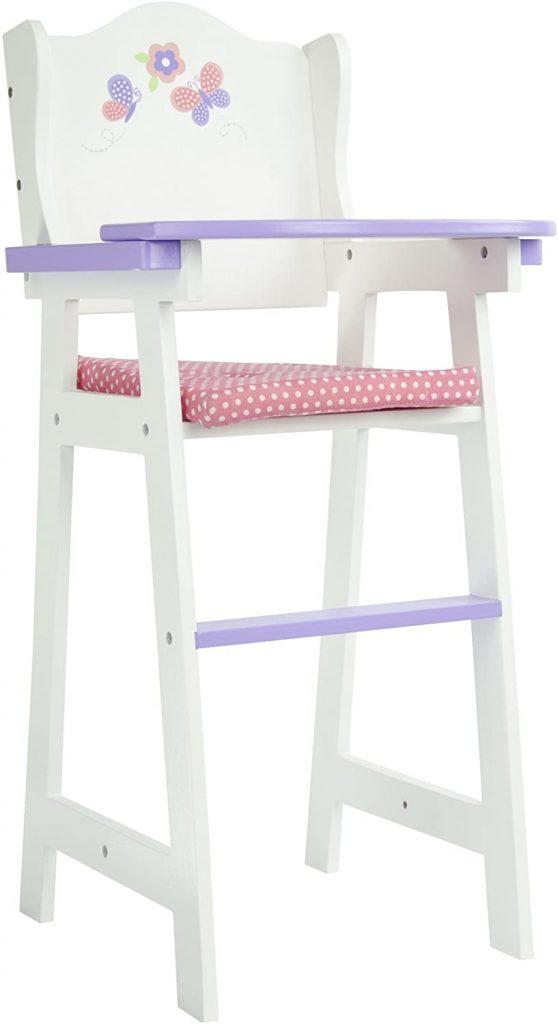 La chaise haute jouet Olivia's Little World a un petit coussin.