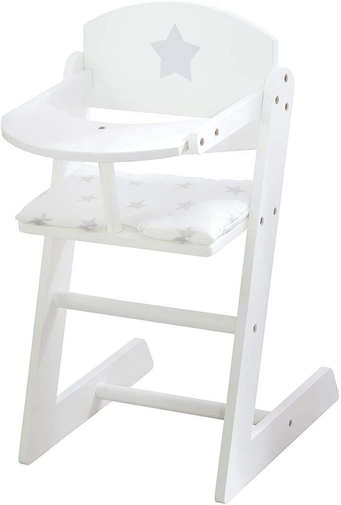 Cette chaise haute poupée roba est blanche.