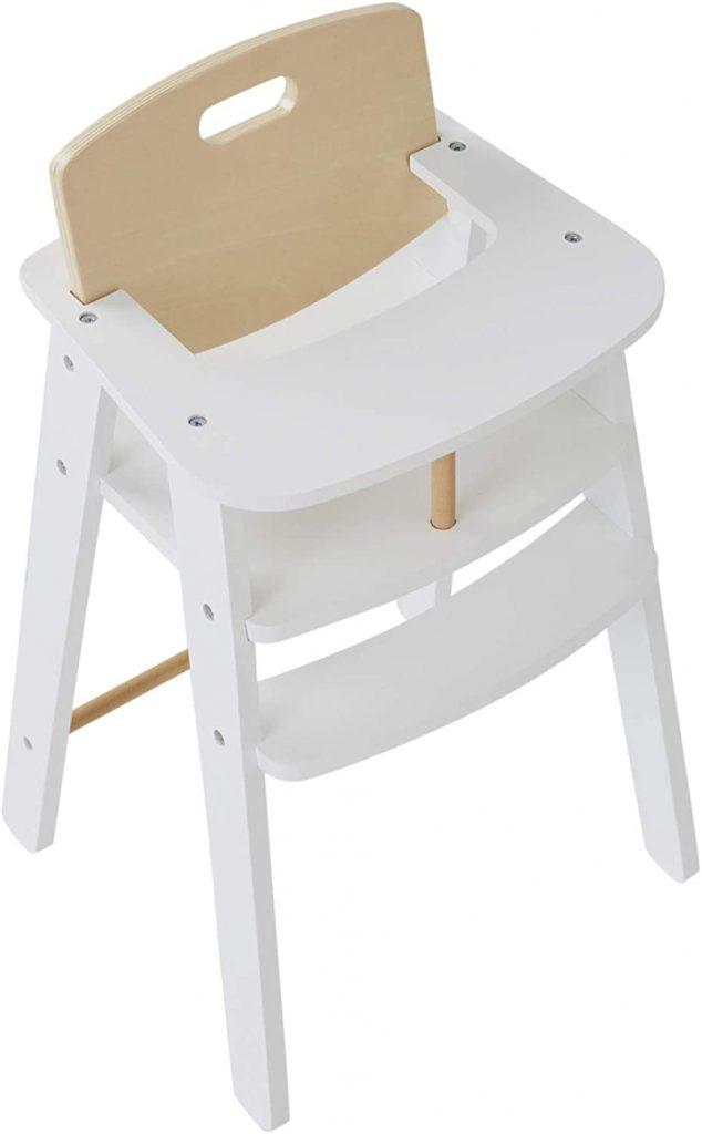 La chaise haute poupon Verbaudet est en bois.
