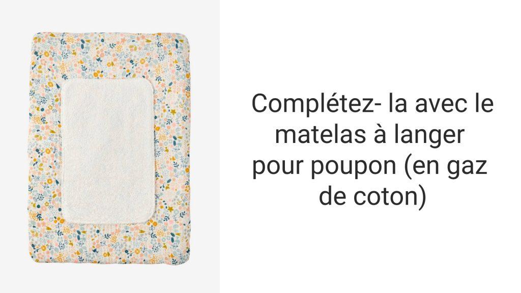 Découvrez le matelas à langer pour poupon en gaz de coton.