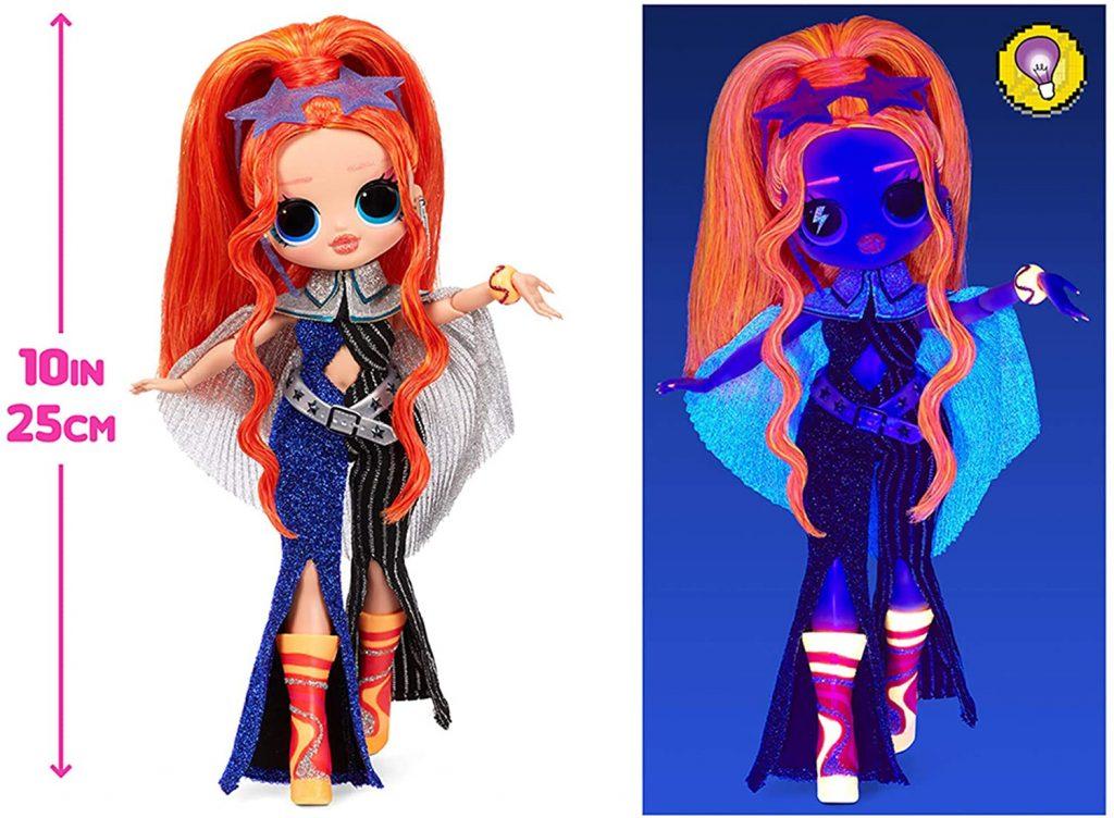 La poupée Lol Major Lady a des zones fluorescentes.