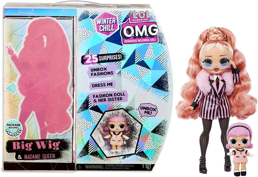 La boîte de la poupée Lol OMG Big Wig de la série Winter Chill comprend notamment Madame Queen.