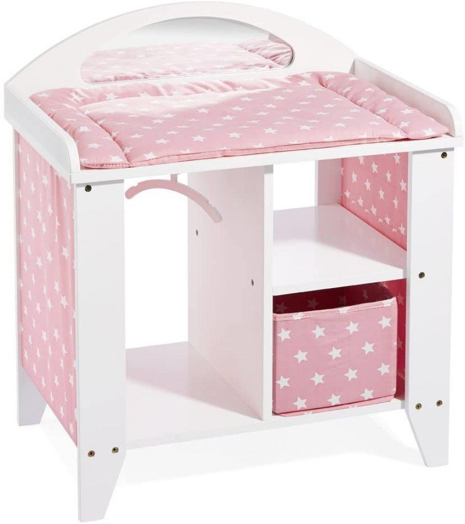 Cette table à langer pour poupon Howa a un tissu rose avec des étoiles blanches.