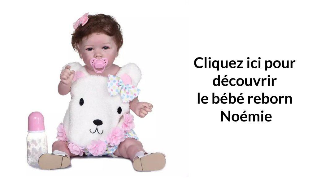La poupée réaliste Noémie a une tétine rose.